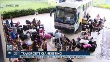 Ônibus clandestinos são apreendidos em Uberlândia - Os dois veículos não tinham autorização para as viagens e transportavam crianças sem todas as documentações necessárias.
