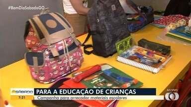 Campanha arrecada materiais escolares para crianças carentes, em Goiânia - kits serão doados para alunos do ensino fundamental de escolas públicas.