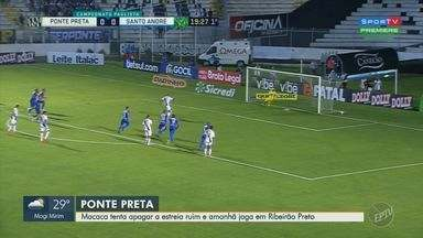 Ponte Preta enfrenta Botafogo neste domingo e busca recuperação no campeonato - Após derrota para o Santo André na estreia do Paulistão, Macaca pega estrada rumo a Ribeirão Preto.