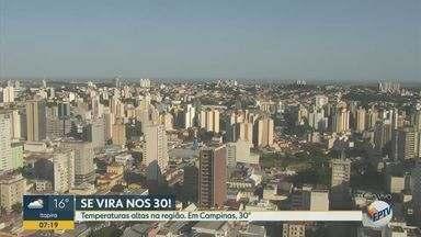 Confira a previsão do tempo para Campinas e região nesta segunda-feira (27) - Temperaturas elevadas são registradas nas cidades. Em Campinas (SP), máxima chega a 30º C.