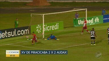 XV sofre virada do Audax na reta final do jogo e segue sem vencer na Série A2 - Mesmo em casa e com 2 a 0 no placar, Nhô Quim sofreu dois gols em um intervalo de cinco minutos e deixou escapar a primeira vitória no Paulistão.
