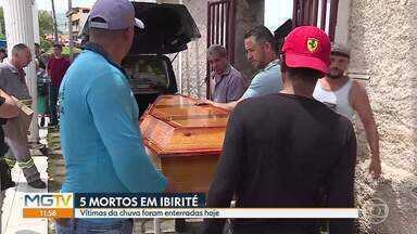 Vítimas da chuva são enterradas em Ibirité - Cidade registrou 5 óbitos.