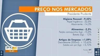 IPT revela queda de preços em itens de supermercados em Presidente Prudente - Maior redução foi nos artigos de higiene, que ficaram quase 9,5% mais baratos.