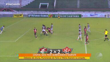 Flu de Feira x Vitória: times ficam no empate debaixo da chuva forte - Confira os melhores lances da partida.