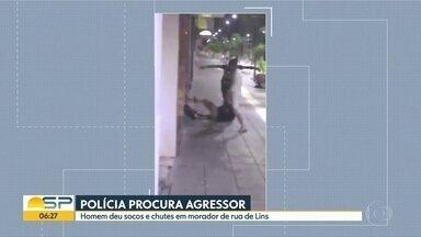 Morador de rua é agredido em Lins - A polícia procura um homem de 30 anos que é suspeito das agressões. Vítima teve ferimentos leves