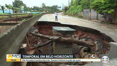 Cratera se abre na Avenida Tereza Cristina após forte chuva na Região Oeste de BH - Estragos são contabilizados na manhã desta quarta-feira (29).