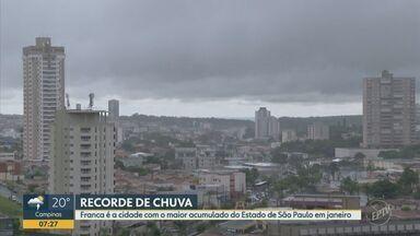 Franca, SP, registra maior volume de chuvas em janeiro no estado de SP, aponta instituto - Município atingiu 379 milímetros em 29 dias, segundo a Somar. Enchentes se tornaram problema recorrente aos moradores.