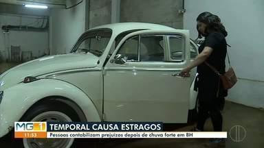 Chuva provoca estragos na Capital Mineira - Pessoas contabilizam prejuízos depois de forte chuva em Belo Horizonte.