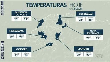 Temperatura não chega aos 30 graus na região Noroeste - Fim de semana deve ser de chuva.