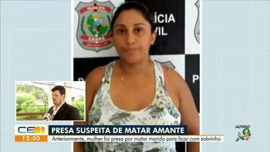 Presa suspeita de matar o marido e o amante - Saiba mais no g1.com.br/ce
