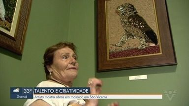 Artista mostra obras em mosaico em São Vicente - Exposição acontece no Instituto Histórico e Geográfico de São Vicente.