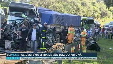 MP pede que motorista que causou acidente na BR-277 em 2017 vá a júri popular - Caminhão provocou engavetamento que causou a morte de seis pessoas na Serra de São Luiz do Purunã.