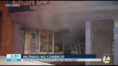 Incêndio atinge loja de materiais de escritório na Campina, em Belém - Fogo começou por volta das 17h.