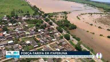 Sobrevoo da Marinha mostra a situação no Norte e Noroeste três dias após as chuvas - Imagens ainda mostram o tamanho do risco em Três Vendas, localidade de Campos onde o rompimento de um dique ameaça quatro mil moradores.