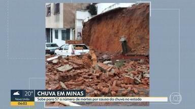 Sobe para 57 número de mortes por causa das chuvas em MG, diz Defesa Civil - Mulher estava internada desde sexta-feira (24), quando foi atingida por um muro que caiu em Caratinga.