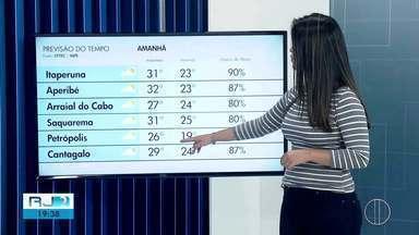 Confira a previsão do tempo desta quarta-feira, 05 de fevereiro de 2020 - O RJ2 traz as temperaturas das cidades do interior do Rio.