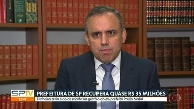 Prefeitura de SP recupera quase R$ 35 milhões desviados em construção de avenida - Verba teria sido desviada pelo ex-prefeito Paulo Maluf durante obras da Avenida Água Espraiada, hoje chamada de Jornalista Roberto Marinho, na Zona Sul.