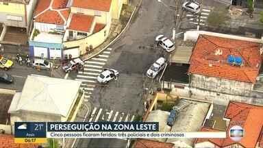 Cinco pessoas ficaram feridas depois de uma perseguição na zona leste - Ocorrência foi na Vila Santo Estéfano.