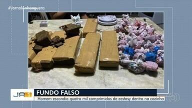 Polícia prende homem com mais de 4 mil comprimidos de ectasy em Goiânia - Droga estava escondida em fundo falso na casa do suspeito.