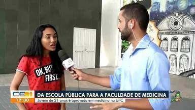 Jovem de escola pública é aprovada para faculdade de medicina - Saiba mais no g1.com.br/ce
