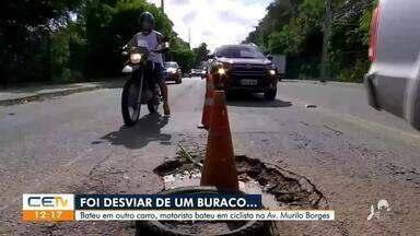Motorista foi desviar de buraco e bate em carro e em ciclista - Saiba mais no g1.com.br/ce
