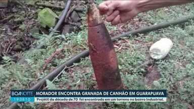 Morador encontra granada de canhão em terreno - O morador tentou vender a granada na internet mas foi surpreendido pelo exército, antes de conseguir fechar negócio.