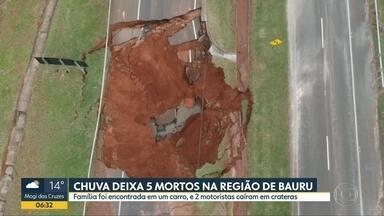 Chuva na região de Bauru deixa 5 mortos - Famílias de Botucatu ficaram desabrigadas, e tubulação de uma represa de Pirajuí se rompeu abrindo uma enorme cratera