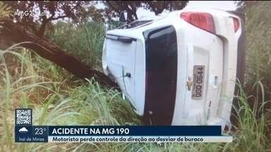Motorista sofre acidente ao desviar de buracos na MG-190 em Monte Carmelo - Homem de 40 anos sofreu traumas na face e foi encaminhado para o pronto-socorro.