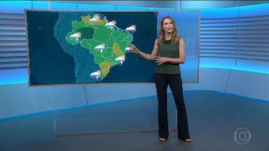 Veja a previsão do tempo para a sexta-feira (14) - Tem alerta para os rios, que vão continuar subindo em Minas Gerais e no Rio de Janeiro.