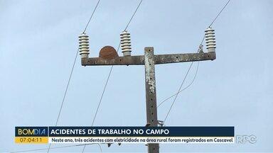 Acidentes de trabalho no campo - Neste ano, três acidentes com eletricidade na área rural foram registrados em Cascavel.