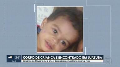 Corpo de criança desaparecida há 2 dias em Juatuba é encontrado em lagoa - Menino de 2 anos sumiu quando estava em casa com irmãs adolescentes. Polícia Civil investiga causas da morte.