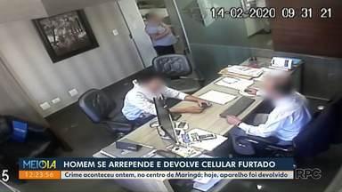 Jovem se arrepende e devolve celular furtado - Caso aconteceu no centro de Maringá.