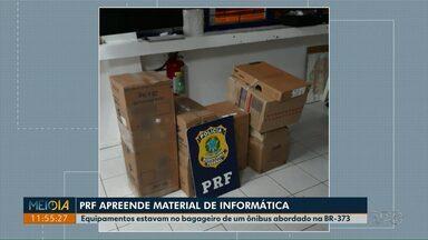 PRF apreende equipamentos de informática contrabandeados na BR-373 - Material estava no bagageiro de ônibus abordado na rodovia.