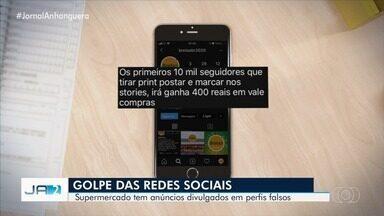 Supermercado é vítima de golpe nas redes sociais, em Goiânia - Criminosos anunciavam promoções e vale compras falsos para ganhar seguidores.