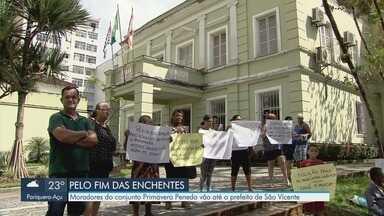 Moradores do conjunto Primavera Penedo protestam em São Vicente - Problemas após enchentes revoltaram moradores do conjunto, que cobram providências.