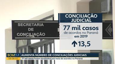Aumenta o número de conciliações judiciais no Paraná - Em 2019, mais de 77 mil casos tiveram acordo no estado.