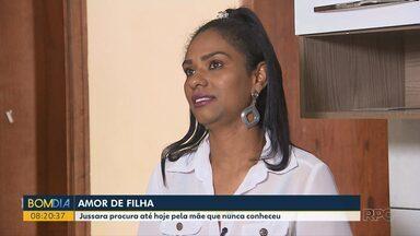 Filha posta história nas redes sociais para tentar realizar o sonho de conhecer a mãe - Jussara nasceu no Rio de Janeiro, passou cinco anos sem ser registrada e veio morar com o pai em Curitiba.