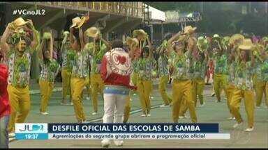 Escolas de samba do primeiro grupo se apresentam na Aldeia Amazônica, em Belém - Desfile oficial das escolas de samba anima o fim de semana.
