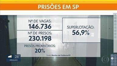 Monitor da Violência: presídios de São Paulo têm 56% de presos além da capacidade - O levantamento também mostrou que 20% da população carcerária é composta por presos provisórios, aqueles que nem foram condenados pela Justiça ainda.