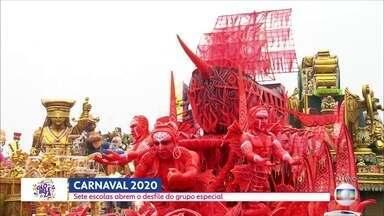 SP1 - Edição de sexta-feira, 21/02/2020 - Sete escolas de samba abrem o desfile do grupo especial no Anhembi. Mais de 700 mil passageiros devem passar pelos terminais rodoviários da capital. Criança morre em desabamento em Francisco Morato.