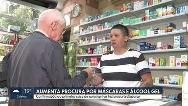 Aumenta a procura por máscaras e álcool em gel nas farmácias - Confirmacao do primeiro caso do Coronavírus fez a procura disparar.