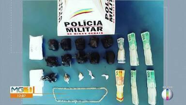Jovem é preso com drogas após cair de moto durante fuga e pular vários muros, em Salinas - Polícia apreendeu porções de cocaína e tabletes de maconha; droga foi adquirida em Montes Claros e seria revendida na cidade.