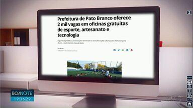 Prefeitura de Pato Branco oferece 2 mil vagas em oficinais - As oficinas são gratuitas e as inscrições terminam amanhã.