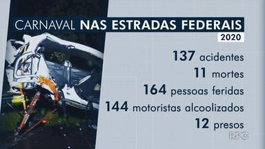 Aumenta o número de mortes nas estradas federais do Paraná - Números são do feriado de carnaval.