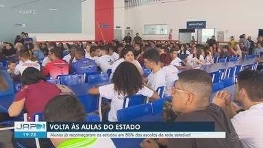 Aulas em 80% das escolas da rede pública estadual do Amapá iniciaram nesta quinta, 27 - São mais de 100 mil estudantes que retomam os estudos. Tem escola que o calendário sofreu atraso devido paralisações de funcionários, reformas ou intempéries da natureza.