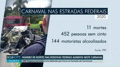 PRF flagra um motorista bêbado por hora no feriado de Carnaval nas estradas do Paraná - O número de mortes nas rodovias federais do estado aumentou durante o feriado deste ano.