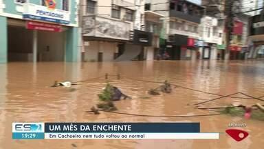 Mais de um mês após enchente, nem tudo voltou ao normal em Cachoeiro, ES - Cidade teve muitos estragos e prejuízos.
