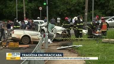 Tragédia em Piracicaba - Duas pessoas morreram num acidente envolvendo um caminhão de lixo.