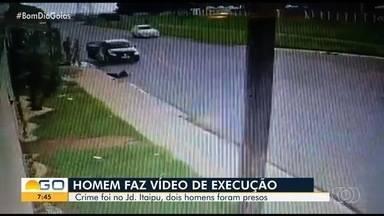 Dupla é presa suspeita de homicídio e confessa participação em outra execução filmada - Crimes ocorreram em Aparecida de Goiânia. Um deles foi filmado por câmeras de segurança; no outro, filmado por celular, o autor corre até a vítima e efetua 7 disparos.
