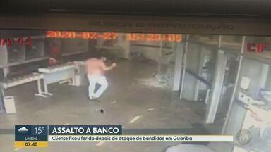 Ladrões armados roubam agência bancária em Guariba, SP - Criminosos invadiram prédio no Centro na tarde de quinta-feira (27). Grupo fugiu em dois carros, e o valor levado não foi divulgado. Um aposentado ficou ferido.